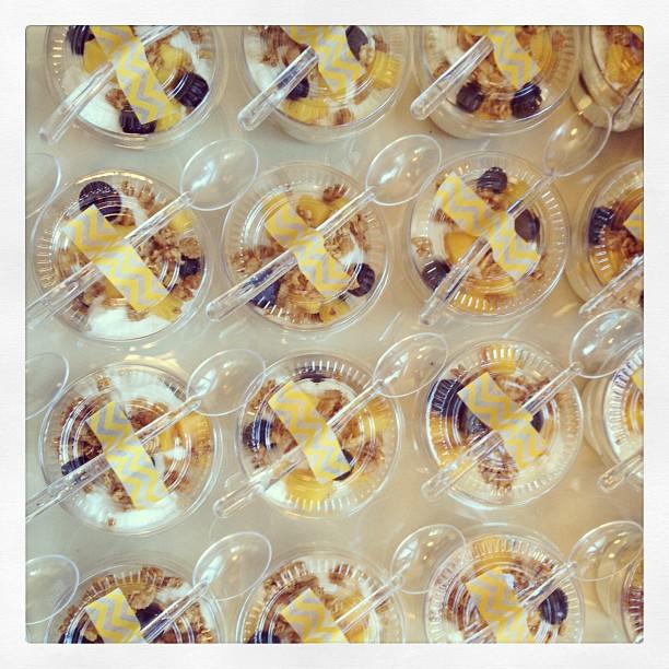 Yogurt parfaits in lieu of cupcakes for birthday celebration.